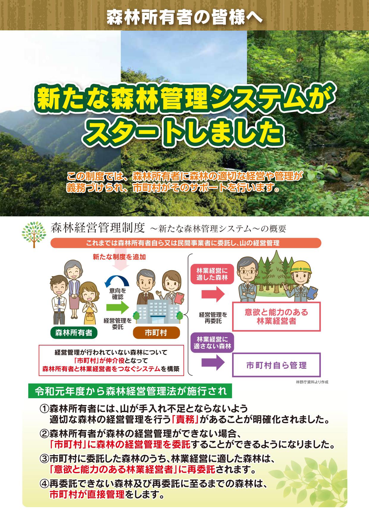 森林経営管理制度のパンフレット